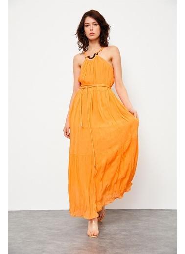 Setre Siyah Jorjet Tokalı Uzun Elbise Oranj